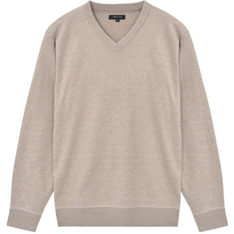 Men's Pullover Sweater V-Neck Beige L