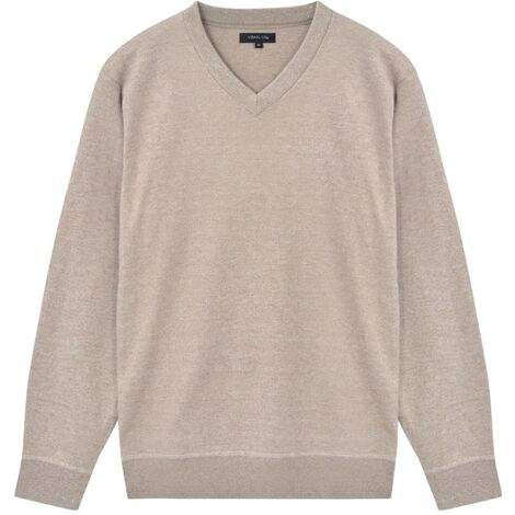Men's Pullover Sweater V-Neck Beige M