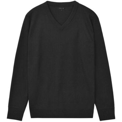 Men's Pullover Sweater V-Neck Black L
