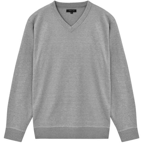 Men's Pullover Sweater V-Neck Grey M