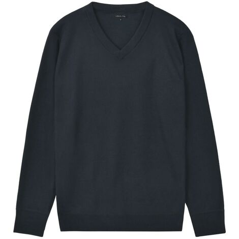 Men's Pullover Sweater V-Neck Navy L