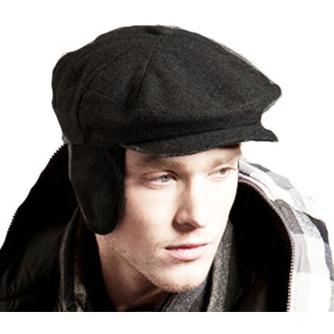 Mens ROBBIE Wool Mix Panelled Fashion Flat Cap Thermal Winter Hat XL 60cm Black