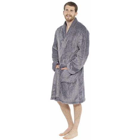 Mens Shawl Collar Fleece Bathrobe Dressing Gown