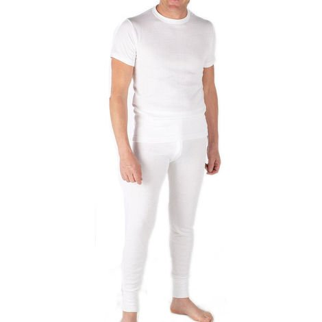 Mens Thermal Set Short Sleeve Vest and Long Johns White - SMALL