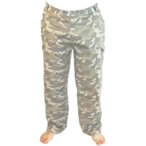 Mens Tom Franks Camo Print Summer Cotton Twill Outdoor Cargo Trousers, Olive Camo, XX-Large,
