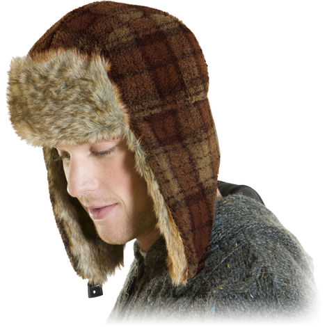 Mens Womens Unisex Plaid Boucle Fleece Trimmed Warm Thermal Winter Trapper Hat