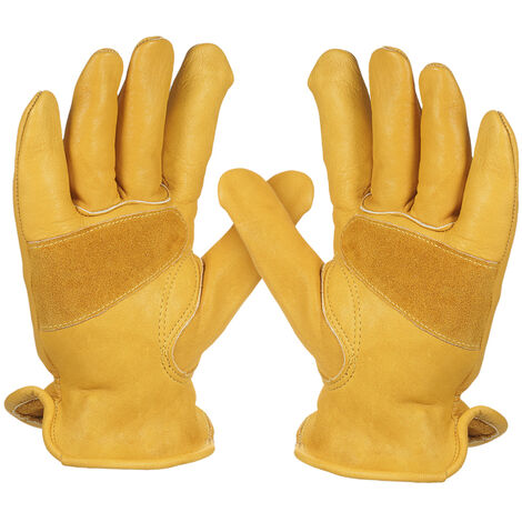 Men's Work Cowhide Gloves Gardening Digging Planting Leather Working Gloves, Size XL