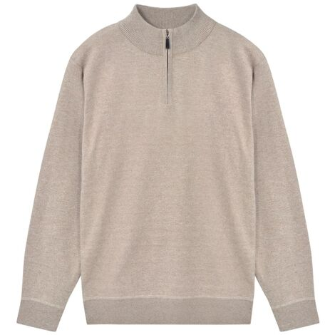 Men's Zip Pullover Sweater Beige L