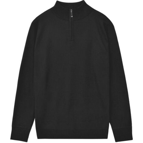 Men's Zip Pullover Sweater Black L