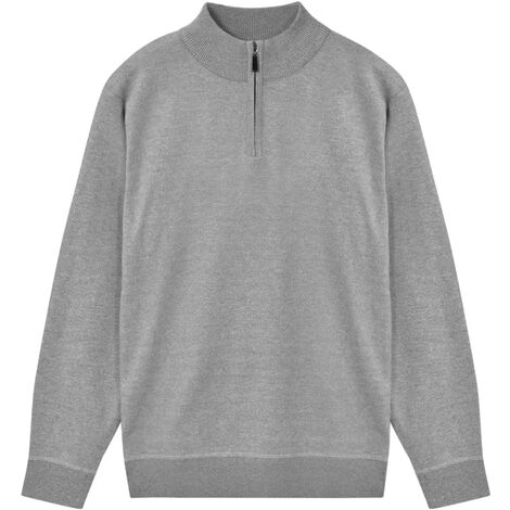 Men's Zip Pullover Sweater Grey L