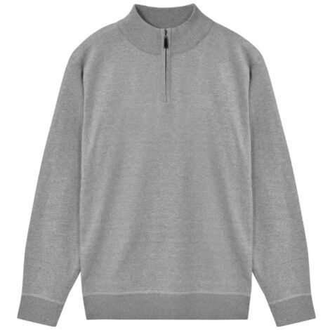 Men's Zip Pullover Sweater Grey M