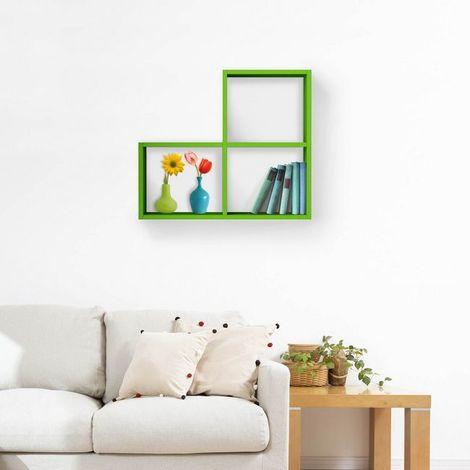 Mensola 3Cubes - Ripiano, Porta Libri - da Parete - Verde in Legno, 70 x 20 x 62 cm