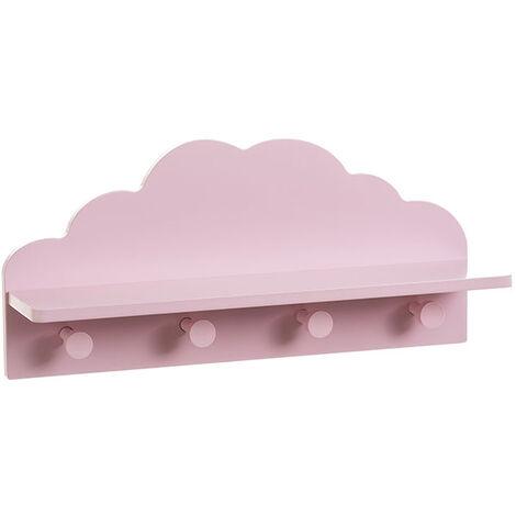 Mensola a forma di nuvola in legno cm.48x12x22h. rosa
