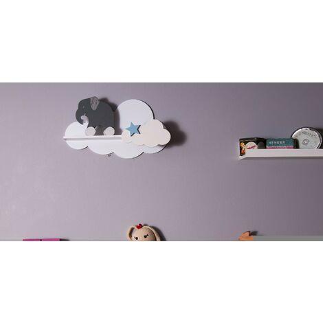 Mensola Cloud - Ripiano, a Forma di Nuvola, per Bambini - da Parete, Cameretta - Bianco, Blu in MDF, 40 x 10 x 23 cm