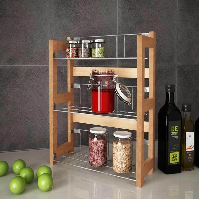 Mensola Cucina Portaspezie Cibo 33x42cm 3 Ripiani In Legno Di Bamboo e  Metallo