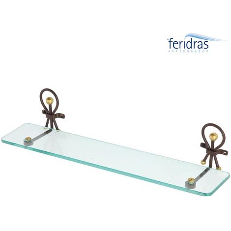 Mensole Per Bagno Vetro.Mensola Da Bagno A Parete Ferro Battuto Artigianale E Vetro 50 Cm Feridras