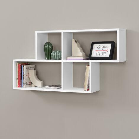 Mensola da Parete con 4 Scomparti a Cubo / Rettangolo 100 x 19,5 x 53 cm Scaffale Pensile con Ripiani Portaoggetti Libreria - Bianco