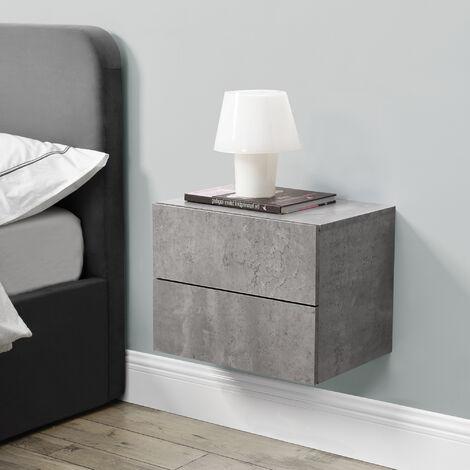Mensola da Parete con Cassetti 40 x 29 x 30 cm Comodino da Notte Portaoggetti da Muro - Effetto Cemento