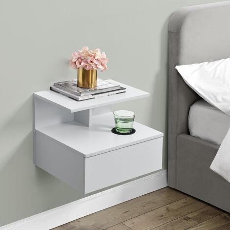 Mensola da Parete con Cassetto 40 x 35 x 31 cm Comodino da Notte Scaffale Portaoggetti da Muro - Bianco