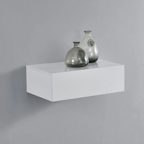 Mensola da parete con cassetto - Bianco laccato lucido - 46x30x15cm