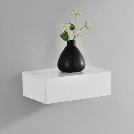 Mensola da parete con cassetto - Bianco opaco - 46x30x15cm