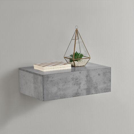 Mensola da parete con cassetto - Effetto cemento - 46x30x15cm
