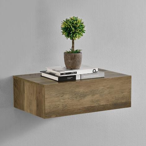 Mensola da parete con cassetto - Effetto legno - 46x30x15cm