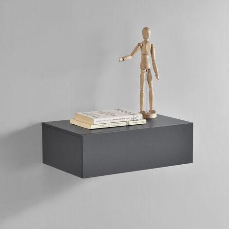 Mensola da parete con cassetto - Grigio scuro - 46x30x15cm