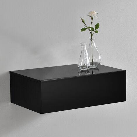 Mensola da parete con cassetto - Nero laccato lucido - 46x30x15cm