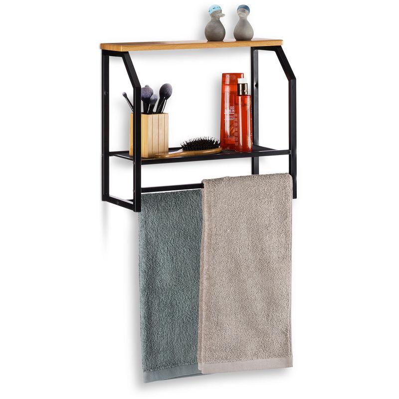 Mensola da Parete con Portasciugamani, Scaffale Pensile per Cucina o Bagno,  HxLxP: 41x45x23 cm, Ferro, Nero