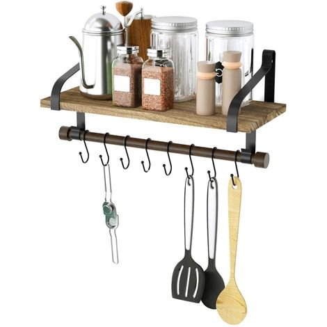 Mensola da Parete Legno e Metallo Design Moderno con Asta e Ganci Bagno Cucina