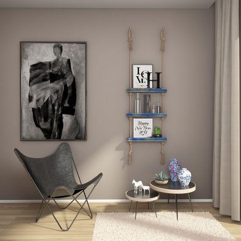 Mensola Halatli - Ripiano, Scaffale - Sospesa, Decorativa, Porta Oggetti, con Corda - da Parete, Salotto, Camera, Cameretta - Blu, Ecru in Legno, Iuta, 50 x 9 x 125 cm