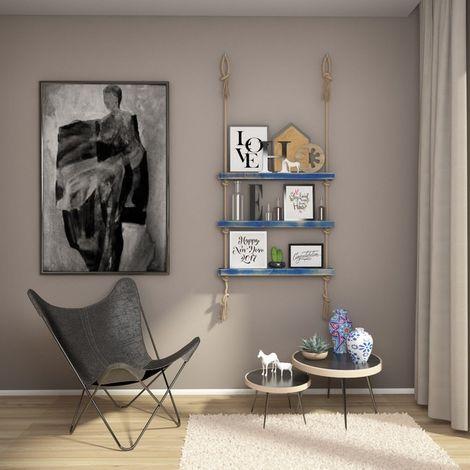 Mensola Halatli - Ripiano, Scaffale - Sospesa, Decorativa, Porta Oggetti, con Corda - da Parete, Salotto, Camera, Cameretta - Blu, Ecru in Legno, Iuta, 75 x 9 x 125 cm