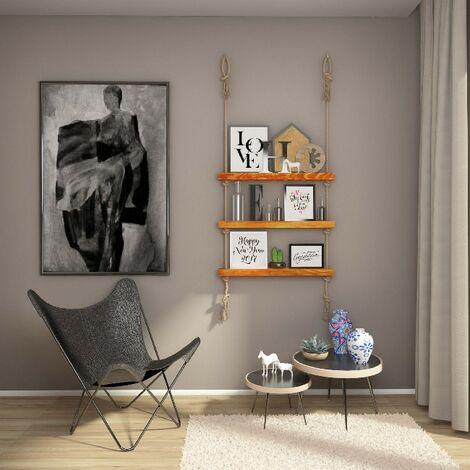 Mensola Halatli - Ripiano, Scaffale - Sospesa, Decorativa, Porta Oggetti, con Corda - da Parete, Salotto, Camera, Cameretta - Ecru in Legno, Iuta, 75 x 9 x 125 cm