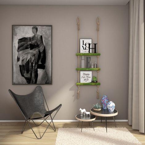 Mensola Halatli - Ripiano, Scaffale - Sospesa, Decorativa, Porta Oggetti, con Corda - da Parete, Salotto, Camera, Cameretta - Verde, Ecru in Legno, Iuta, 50 x 9 x 125 cm