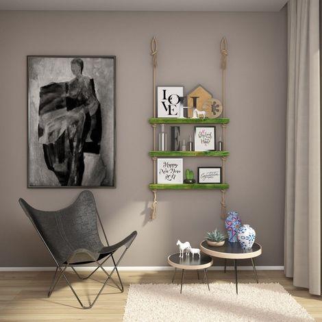 Mensola Halatli - Ripiano, Scaffale - Sospesa, Decorativa, Porta Oggetti, con Corda - da Parete, Salotto, Camera, Cameretta - Verde, Ecru in Legno, Iuta, 75 x 9 x 125 cm