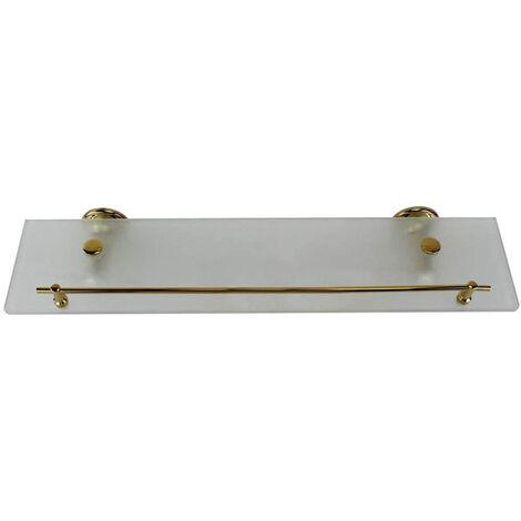 """main image of """"Mensola in vetro satinato da bagno con reggimensola acciaio cromato fissaggio a perete oro"""""""