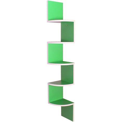 Mensola Libreria Ad Angolo Bianco E Verde Mod. Snake Green Mdf