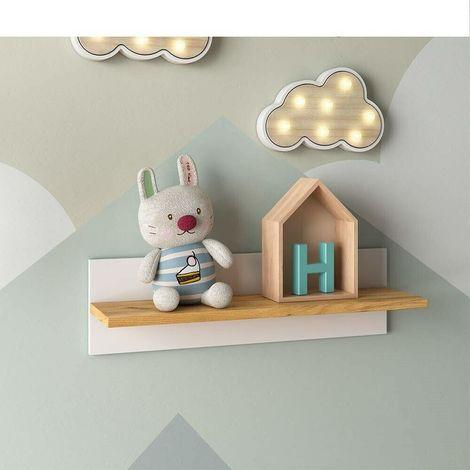 Mensola moderna da parete in legno naturale bicolore 70x20x20 bianco/marrone