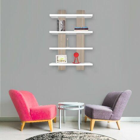Mensola Nergis - Ripiano, Porta Libri - da Parete - Bianco, Cordoba in Legno, 50 x 17 x 80cm