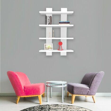Mensola Nergis - Ripiano, Porta Libri - da Parete - Bianco in Legno, 50 x 17 x 80cm