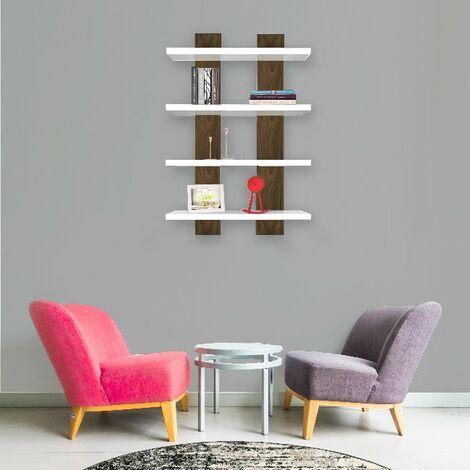 Mensola Nergis - Ripiano, Porta Libri - da Parete - Bianco, Noce in Legno, 50 x 17 x 80cm