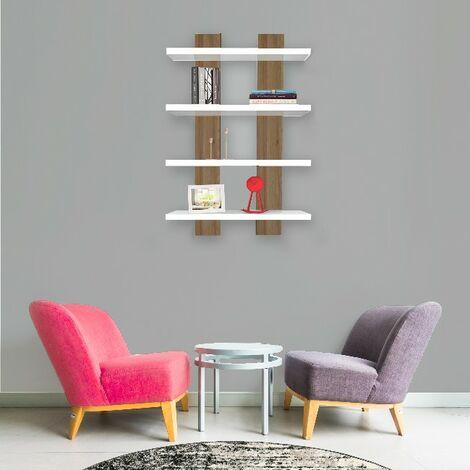 Mensola Nergis - Ripiano, Porta Libri - da Parete - Bianco, Rovere in Legno, 50 x 17 x 80cm
