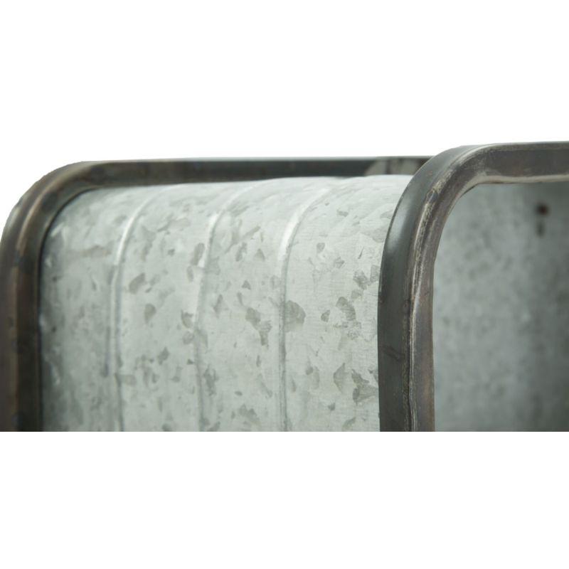 Mensola pensile da parete e muro in legno e ferro grigio