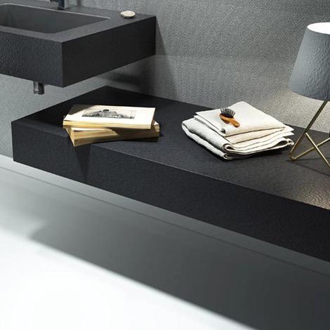 Mensola per lavabo da appoggio effetto Ardesia 80X50 cm realizzata in marmo  resina Relax Design BIG