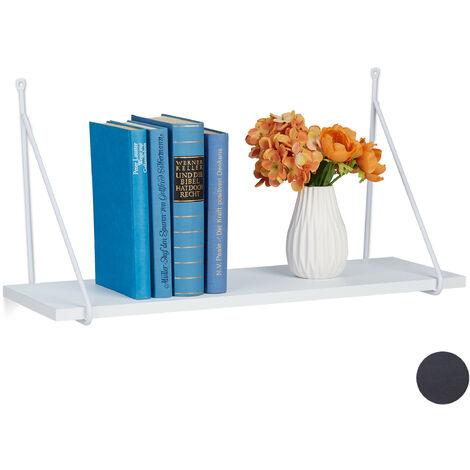 Mensola, per Salotto & Corridoio, Design Moderno, Scaffale per Libri & Decorazioni, HLP: 30x60x22 cm, bianco