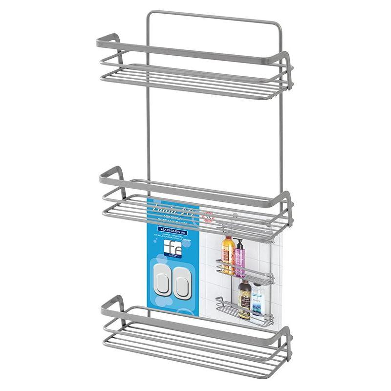 Scaffale da bagno doccia angoliera mensola a 1 piano angolare 30 x 22 x 13 cm antiruggine grigio