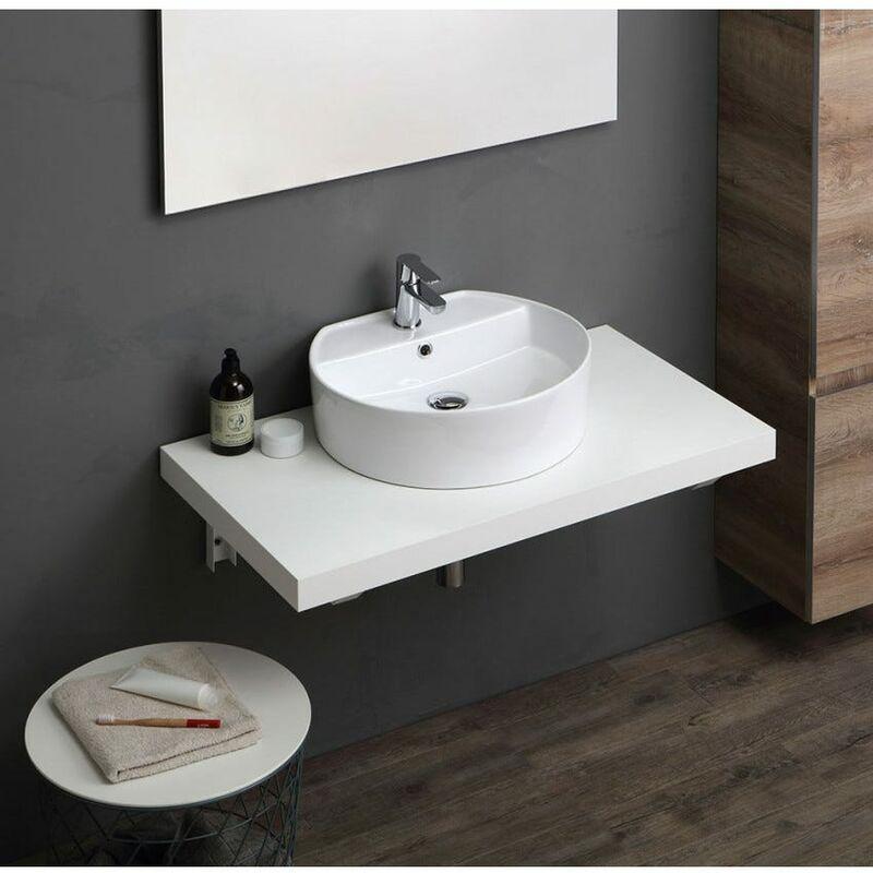 Mensola piano lavabo di design in legno massello c cubo