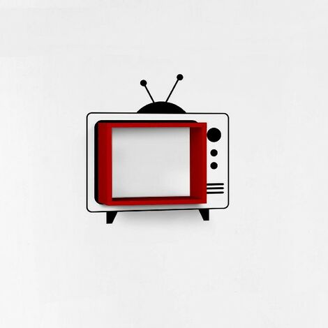 Mensola Tv - da Parete - Ripiano, Porta Libri - con Sticker - da Salotto, Camera - Rosso in Legno, 42 x 20 x 34 cm