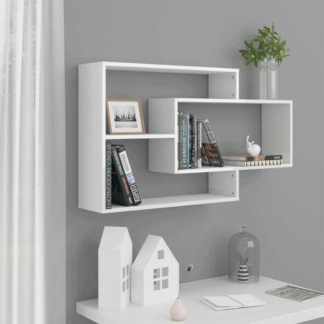 Mensole a Muro Bianco Lucido 104x20x60 cm in Truciolato